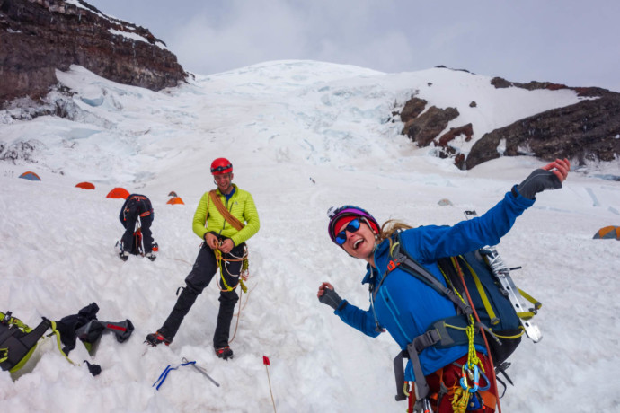 Stoked to be back at Ingraham Flats after a successful summit!
