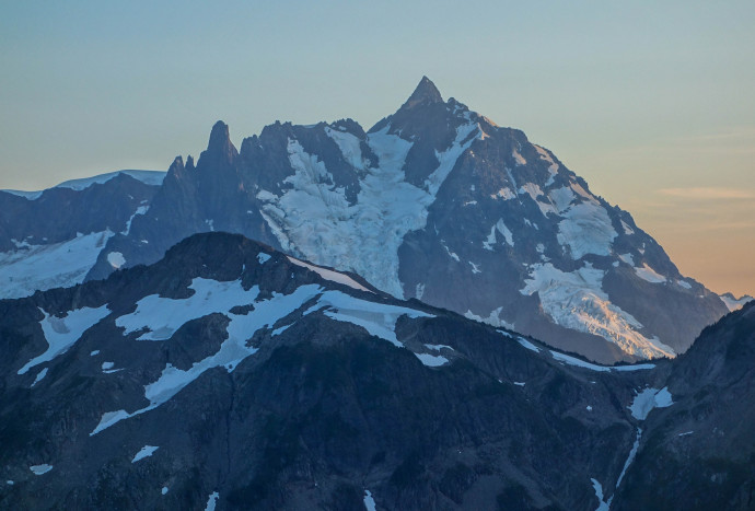 Shuksan aglow during Sunset, from our camp at Hannegan Peak
