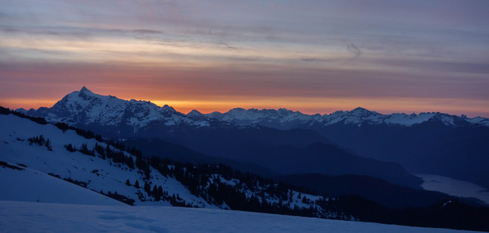 Mt Shuksan and the North Cascades during Sunrise